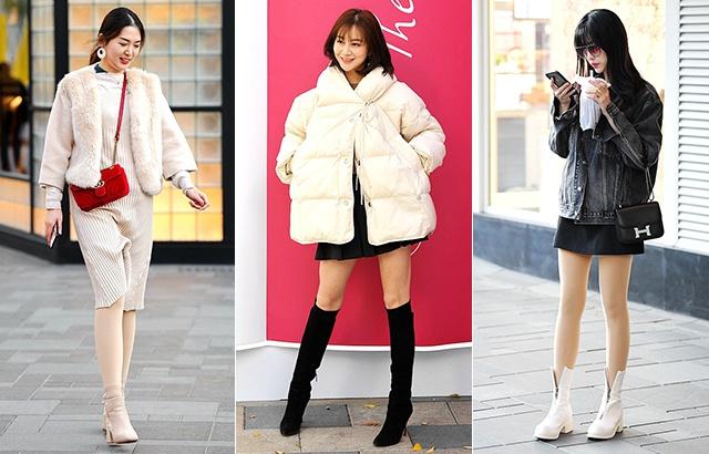 街拍:穿上光腿神器,保暖又时尚