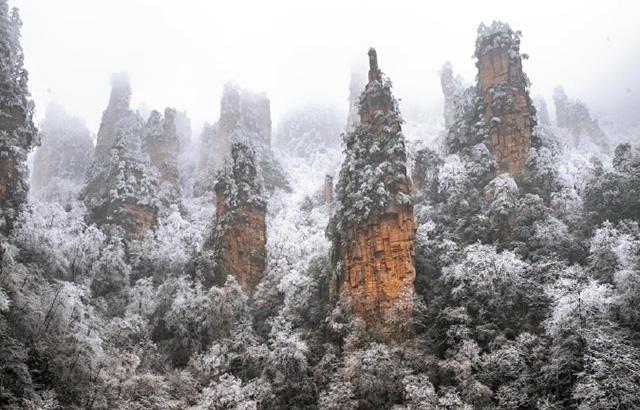 雪后的张家界宛如仙境胜似天堂