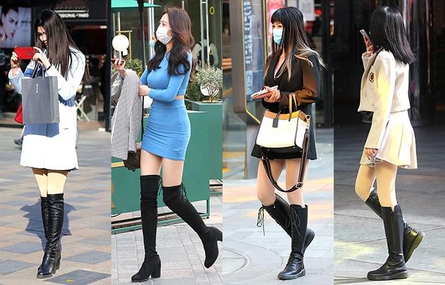 街拍:高筒靴美女,秀出完美比例