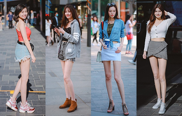 街拍:热裤美女,大长腿秀起来!