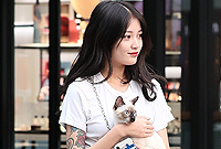 抱猫逛街的女孩