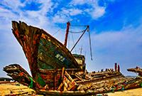 海滩上的船骸