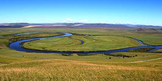 河流绘制的太极八卦图
