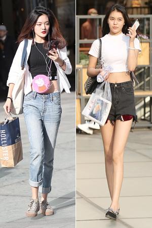 街拍:当露肚脐成为一种时尚