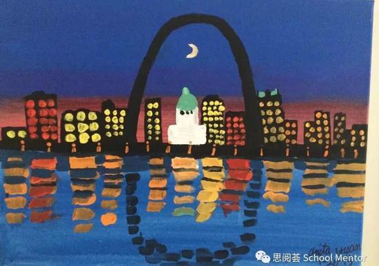 """(小女三年级的水粉画作--""""大拱门"""")"""