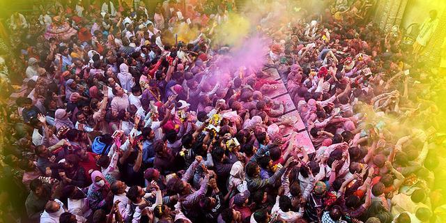 印度超震撼洒红节