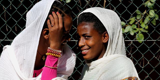 羞涩的埃塞俄比亚少女