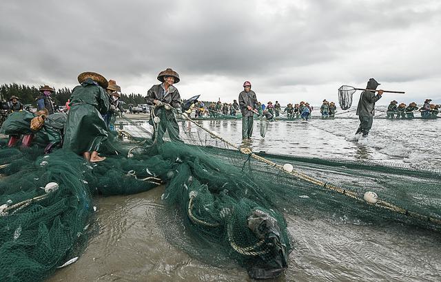 在雨中,在海边,蓝袍湾的渔民在忙碌着