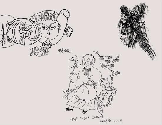 杨先让笔记本中的手绘图(左图:陕西黄甫面花.右图:皮影头像.