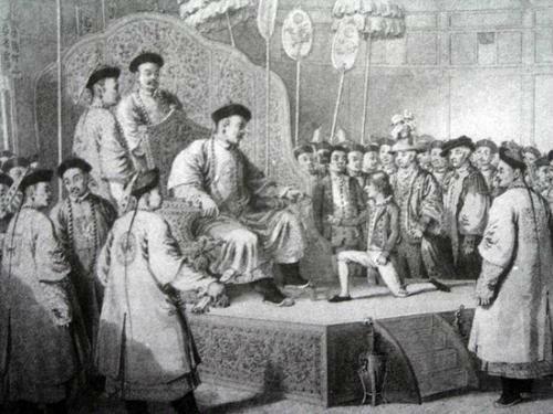 1793年(乾隆五十八年) ,马戛尔尼一行人觐见乾隆皇帝