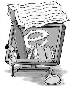 蓬勃生长的网络文学(漫画)  图片来源:叶子猪新闻中心