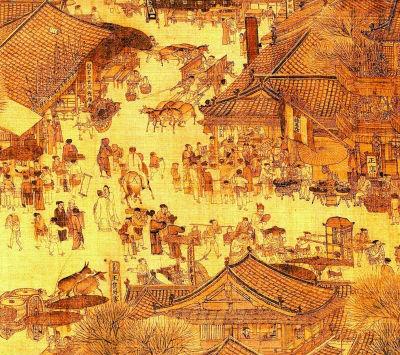 北宋张择端绘《清明上河图》(局部),画中出现了乘车、坐轿、骑驴等当时流行的各种出行方式
