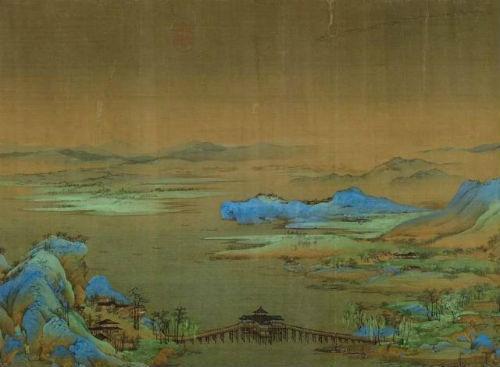 王希孟,《千里江山图》局部。中国第一长桥利往桥和垂虹亭。