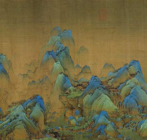 """王希孟,《千里江山图》卷,局部。层叠山势随溪谷路径之迂回曲折,制造出""""深远""""的效果。"""