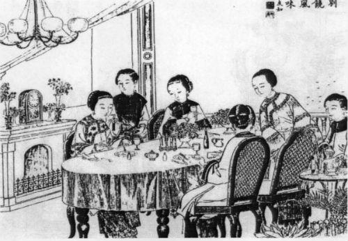 晚清时期食用西餐的妇人
