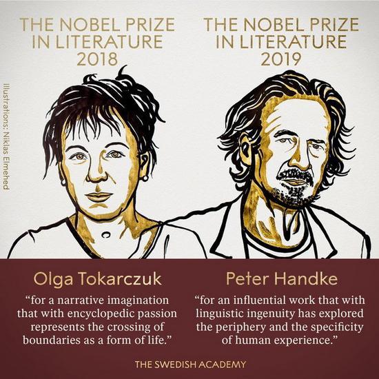 波兰作家奥尔加·托卡丘克和奥地利作家彼得·汉德克获得诺贝尔文学奖
