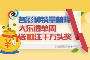 彩市图说第15期:各彩种销量普降 大乐透送10注头奖