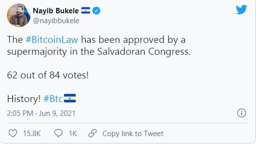 萨尔瓦多国会批准法案 比特币成为该国法定货币