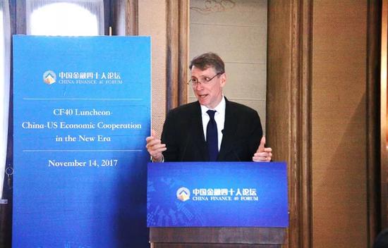 安德慕在11月14日的国际午餐交流会上发表主题演讲