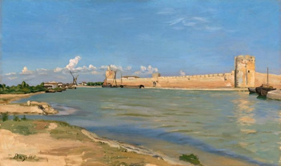 Frédéric Bazille, The Western Ramparts at Aigues-Mortes (1867)。