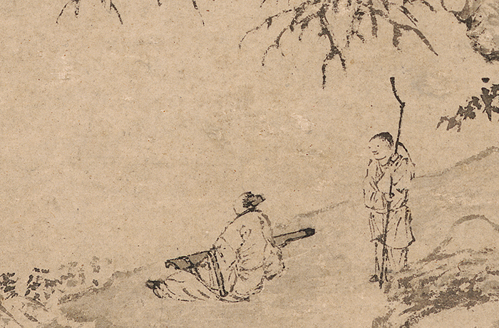 西泠18春拍中国古代书画:唐寅《临流试琴图》精赏
