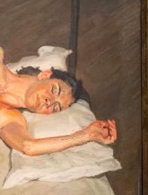 《白色床罩上的裸女肖像》局部