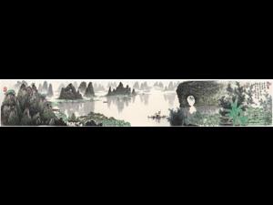 李春琦限量签名版画《春到漓江》