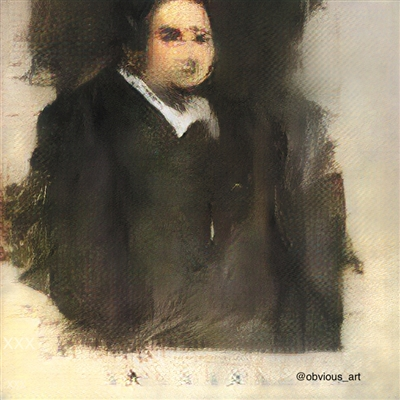 在佳士得拍卖的首幅AI画作《埃德蒙·贝拉米》(Edmond Belamy)。受访者供图