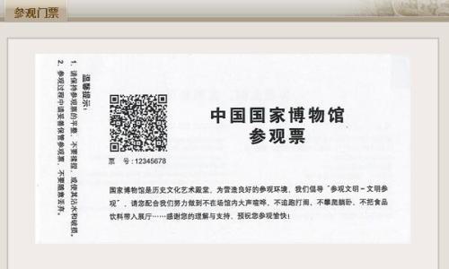 国博官网展示的纸质门票。网站截图