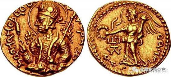 | 胡韦色迦 1第纳尔金币 公元152-192国王盛装半身像(正)穿着古希腊服饰的有翼胜利女神奥宁多(反)