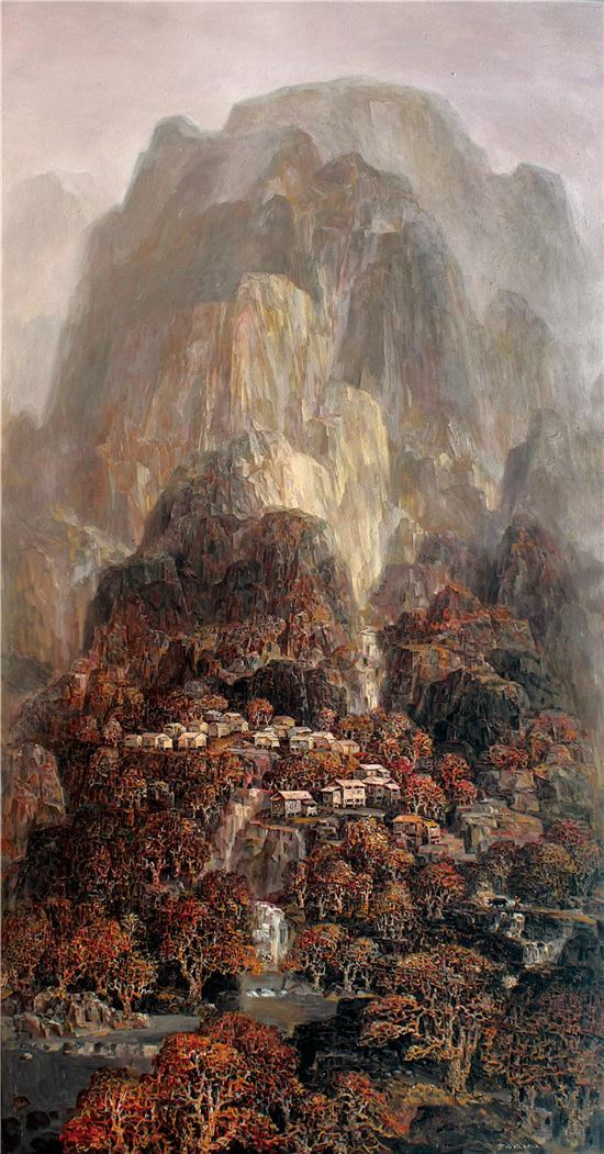 《壑山满秋》油画