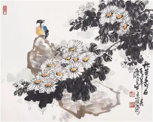 《秋英寿石》34×46cm 2002年