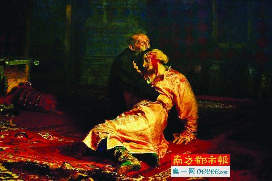 列宾油画作品《伊凡雷帝和他的儿子》。