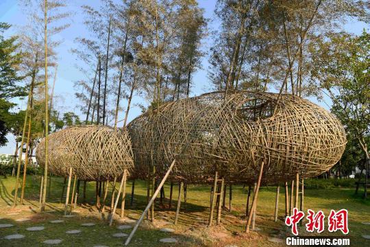 图为用竹子为主制作的艺术作品《空游云行》。 张斌 摄