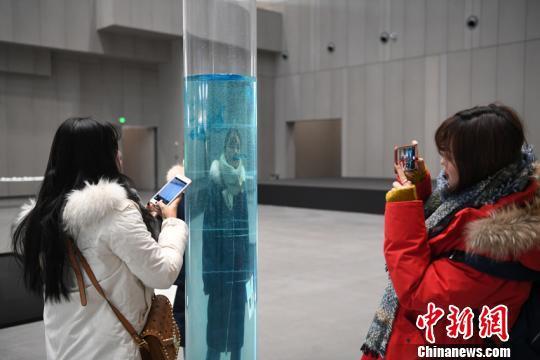 參觀者參觀德國作家歐德勒·達爾格林的作品《墮落的地平線》 張瑤 攝