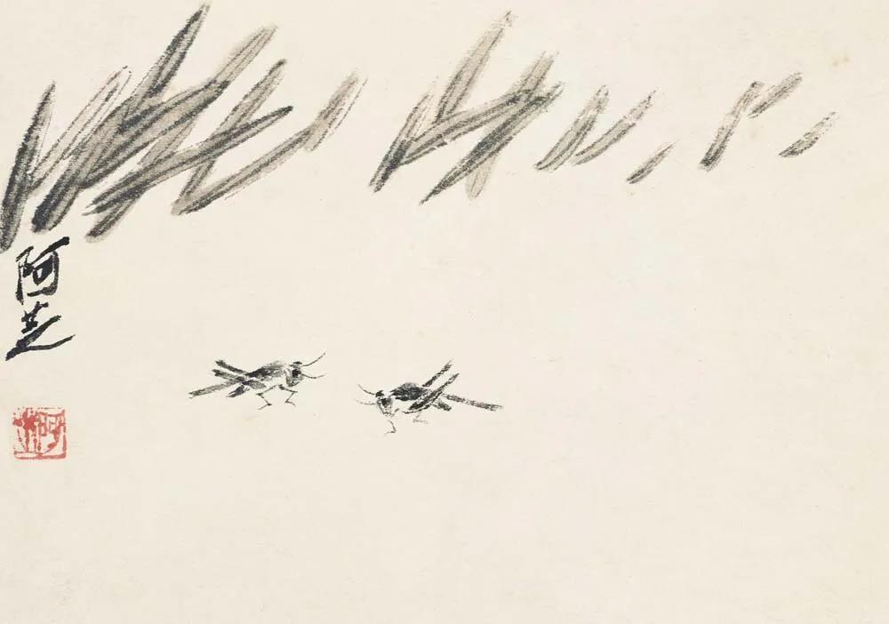 齊白石 草蟲冊頁之一:菱蝗 北京畫院藏