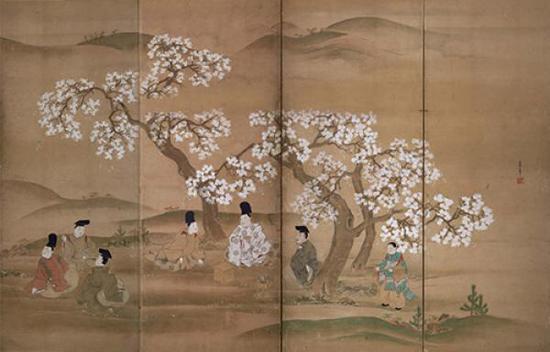 《观樱图屏风(局部)》,住吉具庆,江户时代?17世纪,西胁健治氏寄赠