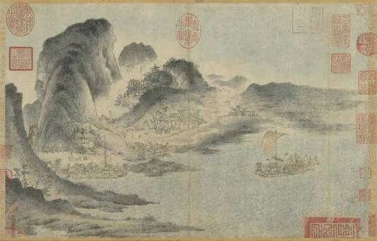 《江帆山市图》 佚名 28.6 x 44.1 cm 台北故宫博物院藏