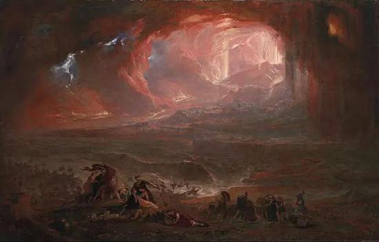 约翰·马丁《庞贝和赫库兰库姆的毁灭》布面油画 161.6×253cm 1822年