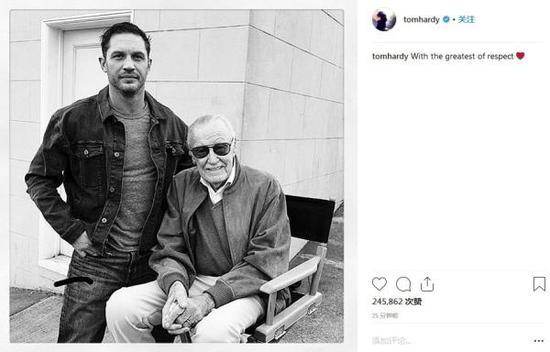 """""""毒液""""汤姆·哈迪分享合影悼念斯坦·李,""""带着最深切的尊敬""""。"""