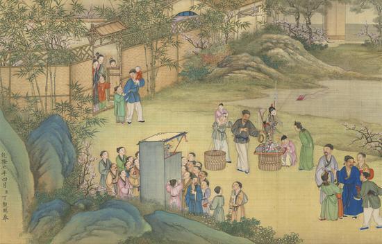 清代 丁观鹏 《太平春市图》卷(局部) 台北故宫博物院藏