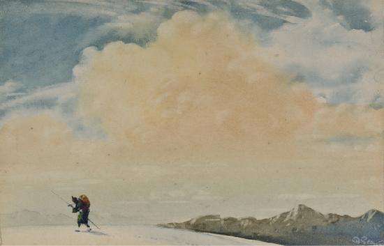 拜尔斯沃·森,《 艰苦跋涉的夏尔巴》, 纸上水彩、蛋彩 ,8.5×5.5cm,1914年,印度国家现代艺术馆藏