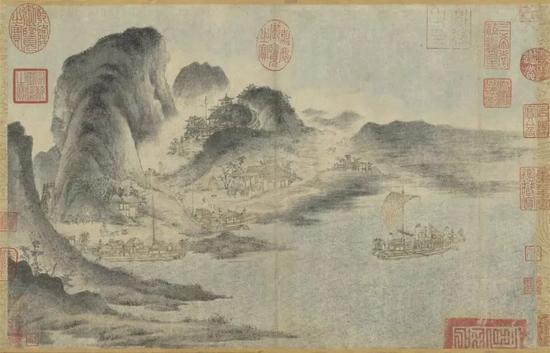 《江帆山市图》 佚名28.6 x 44.1 cm 台北故宫博物院藏