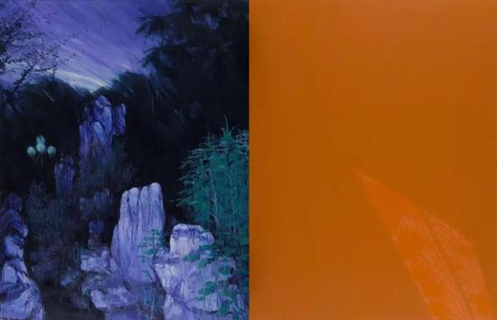 肖丰 《中国魅影·2010年武昌桂子山152号校园与洪山549号禅寺》 布面油画 180cm×280cm 2010