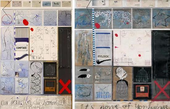 左:比利时艺术家西尔万的作品,1989 右:叶永青的作品,1995