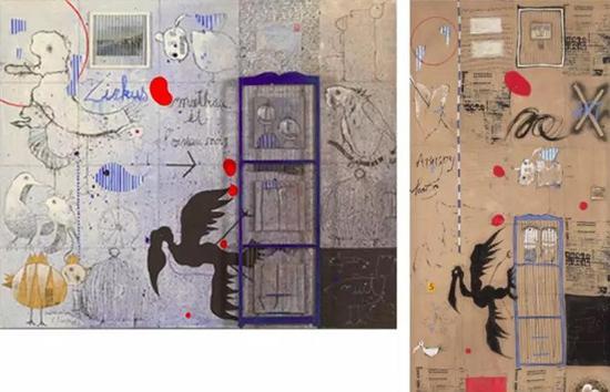 左:比利时艺术家西尔万的作品,1989 右:叶永青的作品