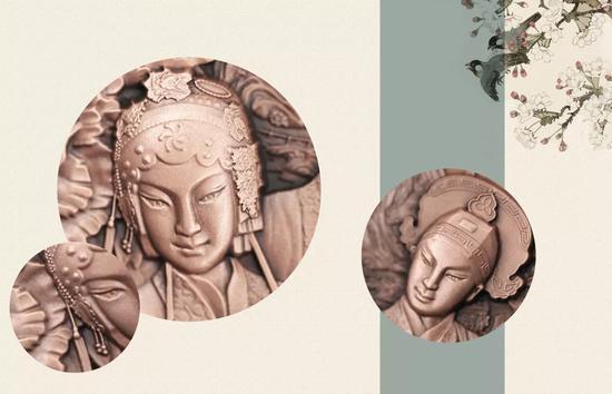 昆曲纪念章展现了牡丹亭戏曲场景,非常唯美。