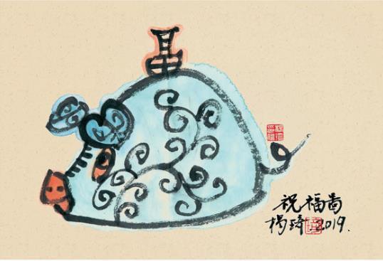 杨琦生肖手绘明信片