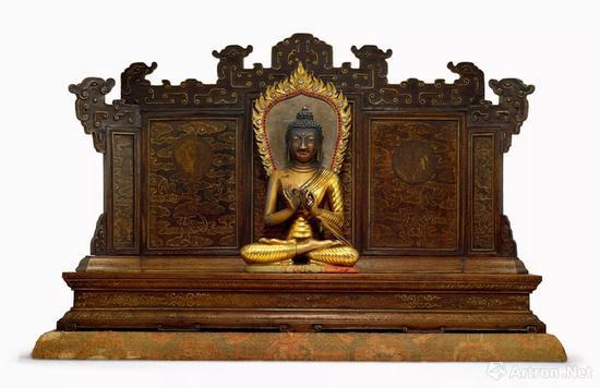 NO.23清乾隆宫廷 铜鎏金释迦牟尼佛说法像