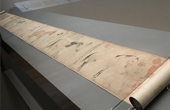 李公麟《五马图》在展览现场